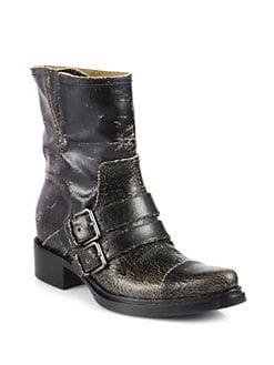Miu Miu - Distressed Leather Motorcycle Boots