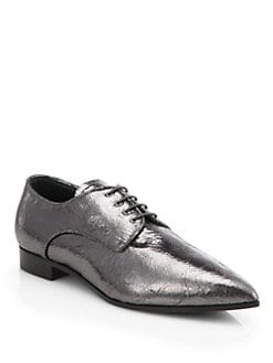 Miu Miu - Cracle Metallic Leather Lace-Up Oxfords