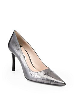 Miu Miu - Crackled Metallic Leather Single Sole Pumps