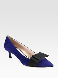 Miu Miu - Bow-Trimmed Suede Pumps