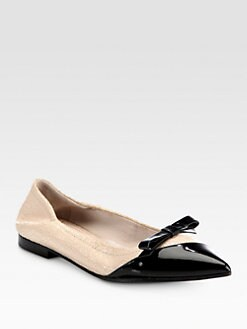 Miu Miu - Cracle & Patent Leather Bow Flats