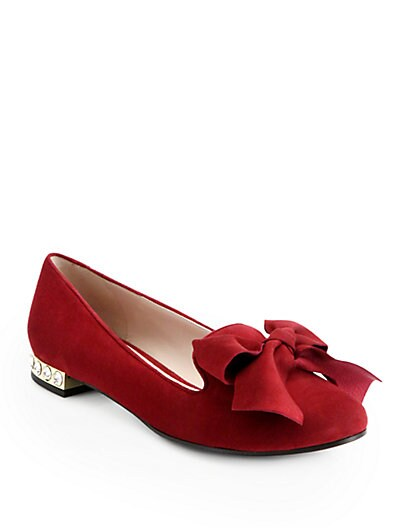Jeweled Suede Bow Smoking Slippers
