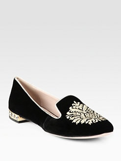 Miu Miu - Crest Embellished Velvet Smoking Slippers