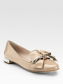 Miu Miu - Bow Patent Leather Jewel Smoking Slippers