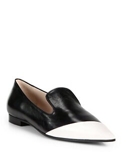Miu Miu - Bicolor Leather Point-Toe Loafers