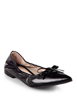 Miu Miu - Patent Leather & Vitello Leather Ballet Flats