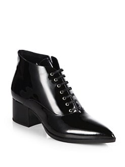 Miu Miu - Patent Leather Lace-Up Ankle Boots