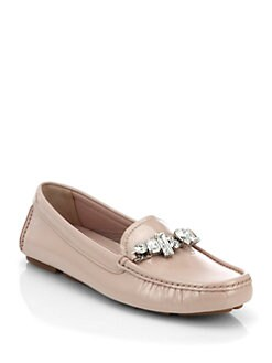 Miu Miu - Jeweled Patent Leather Loafers