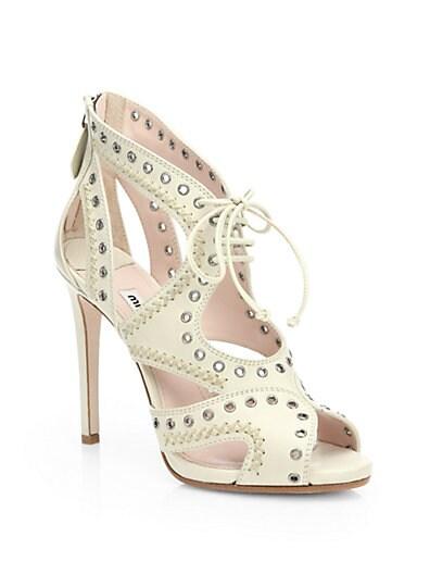 Leather Grommet Lace-Up Sandals