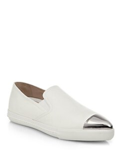 Miu Miu - Leather Metallic-Toe Slip-Ons