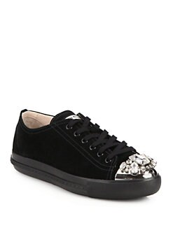 Miu Miu - Suede & Swarovski Crystal Low-Top Sneakers