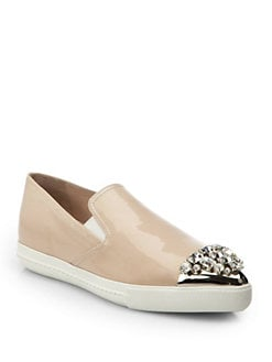 Miu Miu - Patent Leather Jeweled Cap-Toe Skate Shoes