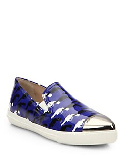 Miu Miu - Printed Patent Leather Skate Shoes