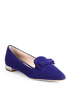 Miu Miu - Suede Jeweled Heel Loafers
