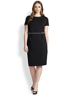 ABS, Sizes 14-24 - Stud-Detail Ponte Sheath Dress