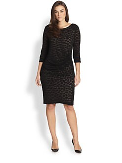 ABS, Sizes 14-24 - Animal-Print Knit Dress