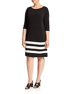 ABS, Sizes 14-24 - Striped T-Shirt Dress