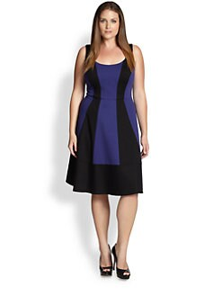 ABS, Sizes 14-24 - Colorblock Fit-&-Flare Dress