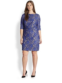 Kay Unger, Sizes 14-24 - Embroidered Lace Dress