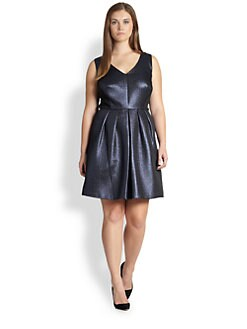 Kay Unger, Sizes 14-24 - Metallic Jacquard Party Dress