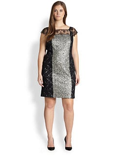 Kay Unger, Sizes 14-24 - Contrast-Panel Lace Dress