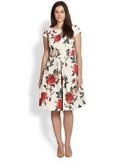 ABS, Sizes 14-24 - Floral A-Line Dress