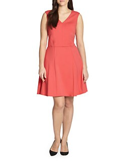 ABS, Sizes 14-24 - Fit-and-Flare Dress