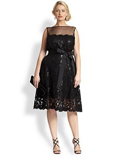 Tadashi Shoji, Sizes 14-24 - Sequin Lace Illusion Cocktail Dress
