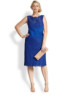Tadashi Shoji, Sizes 14-24 - Lace & Pintucked Jersey Cocktail Dress