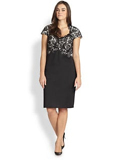 Tadashi Shoji, Sizes 14-24 - Lace-Bodice Sheath Dress