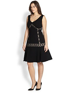 ABS, Sizes 14-24 - Lace-Inset Dropped-Waist Dress