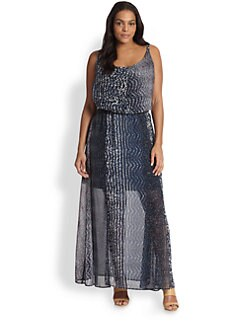ABS, Sizes 14-24 - Printed Maxi Dress