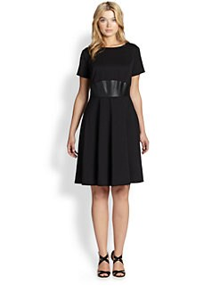 ABS, Sizes 14-24 - Knit Fit-And-Flare Dress