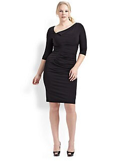 David Meister, Salon Z - Asymmetrical Three-Quarter Sleeve Dress