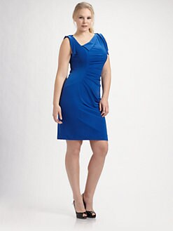 David Meister, Salon Z - Asymmetrical Flutter-Sleeve Dress