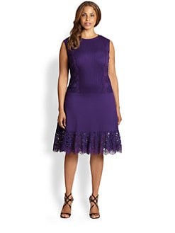 Tadashi Shoji, Sizes 14-24 - Lace-Enhanced Jersey Dress