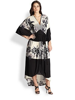 ABS, Sizes 14-24 - Printed Caftan Maxi Dress