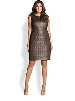Kay Unger, Sizes 14-24 - Metallic Lace Dress