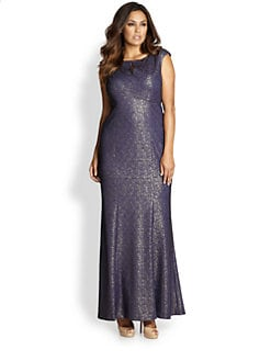 Kay Unger, Sizes 14-24 - Metallic Lace Gown
