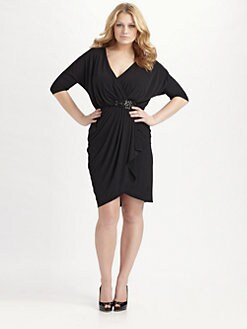 David Meister, Salon Z - Faux Wrap Jersey Dress