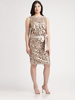 Tadashi Shoji, Salon Z - Metallic-Lace Sheath Dress