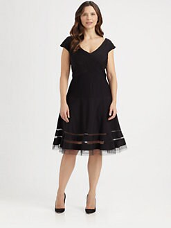 Tadashi Shoji, Salon Z - Pintucked Flared Dress