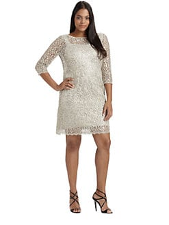 Kay Unger, Sizes 14-24 - Sequin/Lace Sheath Dress