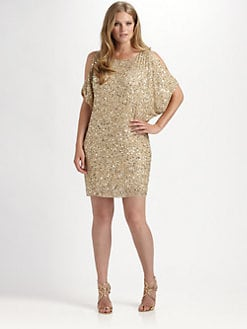 Aidan Mattox, Salon Z - Split-Sleeve Sequin Dress