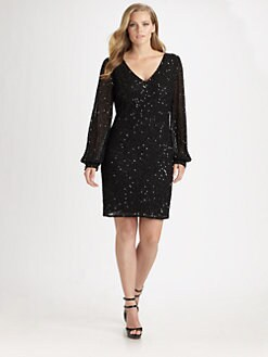 Aidan Mattox, Salon Z - Long-Sleeve Sequin-Coated Silk Dress
