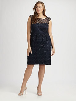 Kay Unger, Salon Z - Lace Peplum Dress