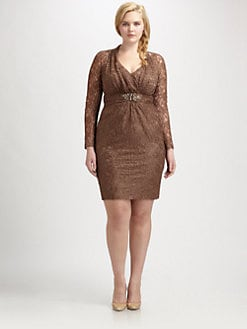 David Meister, Salon Z - Lace Embellished-Waist Dress