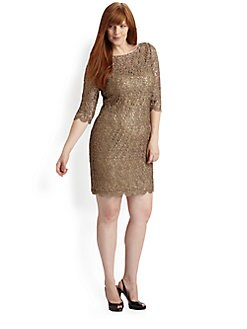 Kay Unger, Salon Z - Lace Over Sequin Sheath