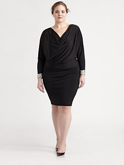 David Meister, Salon Z - Embellished-Sleeve Blouson Dress