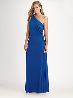 Aidan Mattox, Salon Z - Ruched One-Shoulder Gown